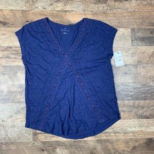 BNWT Caslon Crochet cap sleeve tee Size Small